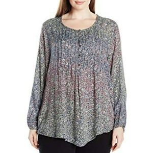 NWT LUCKY BRAND Pintuck Peasant Top 2X